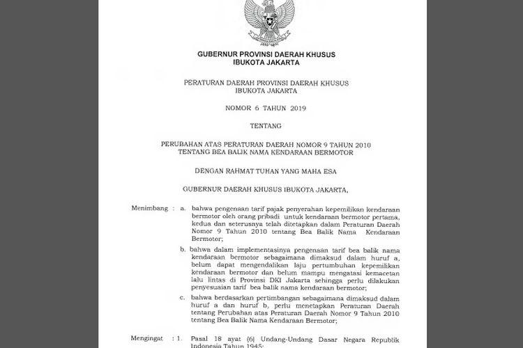 Perda penyesuaian tarif BBN-KB DKI Jakarta