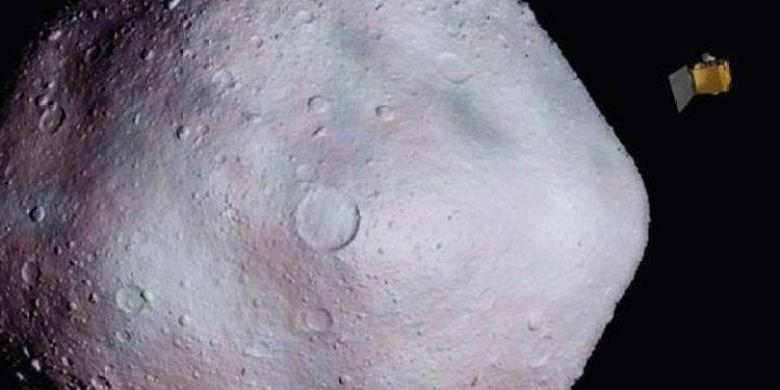 Ilustrasi asteroid Bennu dengan wahana antariksa OSIRIS-REx.