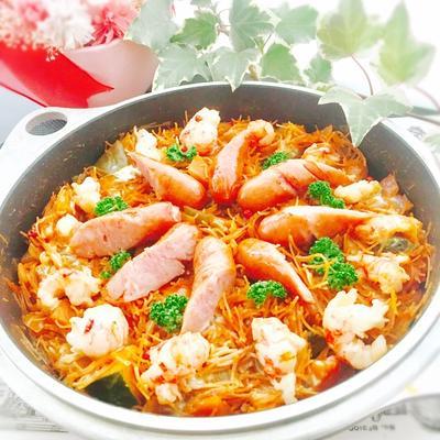 作り置きラタトゥイユと揚げ素麺でパスタパエリア(フィデウア)