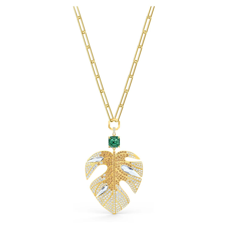 tropical leaf pendant light multi colored gold tone plated