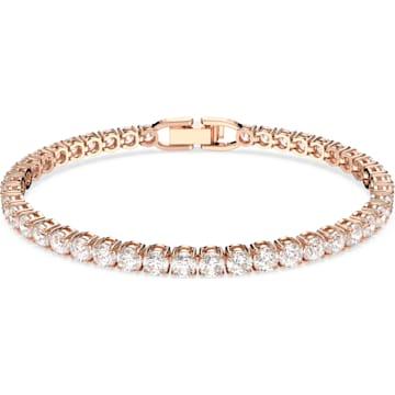Braccialetto Tennis Deluxe, bianco, Placcato oro rosa - Swarovski, 5513400