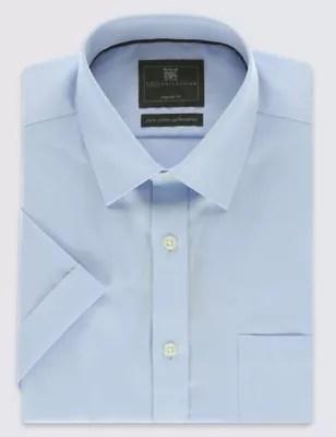 Саржевая рубашка Performance из чистого хлопка с коротким ...