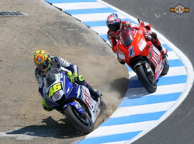 Image result for rossi vs stoner laguna seca 2008