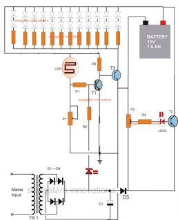 Diagram Lampu Emergency dengan Baterai oleh Mas Berry