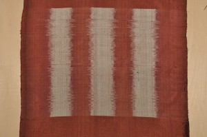 My attempt at weft ikat weaving in Laos.