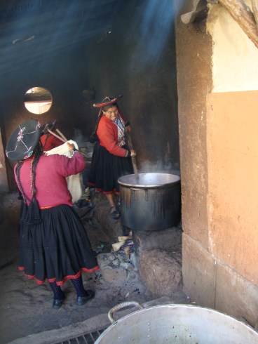 After the students leave, the dyeing continues in Chinchero