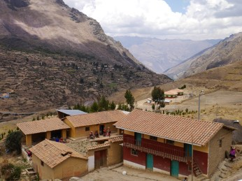 Looking down on the courtyard of the Accha Alta Weaving Center.