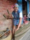 Sahalandy member, Prisca, winding silk warp.