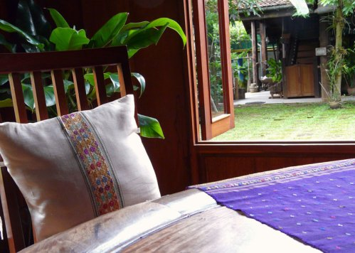 Traditional Lao weaving adorns the rooms at the Center. The indigo studio is just across the way.