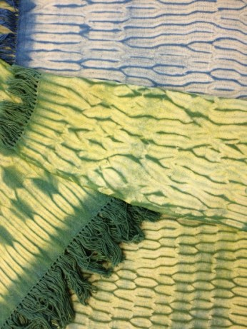 Shibori class sample, woven and naturally dyed.