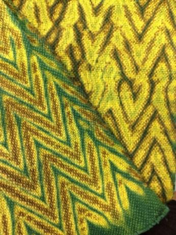 Woven and dyed shibori class sample.