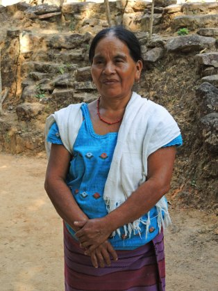 Allegoria wearing the traditional handwoven skirt (pozahuancos) and a handwoven blouse.