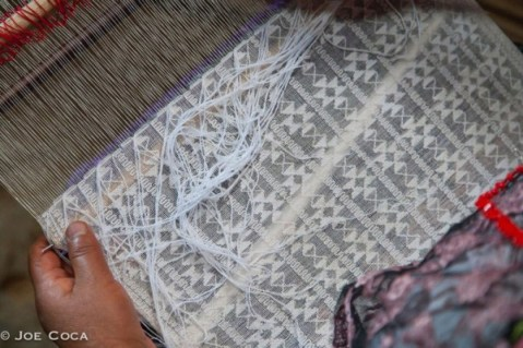 Detail of the brocade-woven star pattern.