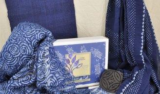 Indigo dyed fabrics: hemp, block-printed and resisted silk, bandhani cotton.