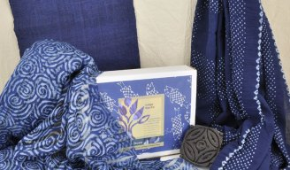 Indigo dyed fabrics: hemp, block-printed and resisted silk, bandhani cotton.