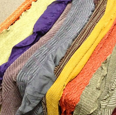 These bandhani silk scarves are naturally dyed. Bandhani is a technique of creating patterns on cloth by resisting parts of the fabric by tying small, continuous knots before it's dyed.