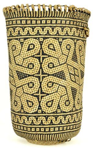 The decorative motifs vary from basket to basket, and depict creepers, ferns, fruits, shoots and vines.