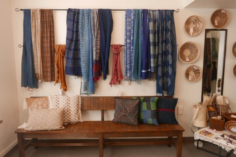 Indigo Scarves, Bandhani and Home Decor Collections including Pillows, Table Top and Wall Hangings.