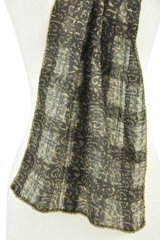 Scroll-patterned silk has lovely drape.