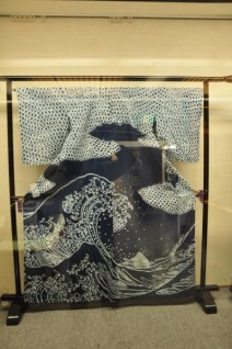 The back of a kimono; design is entirely made using shibori then indigo dyed.