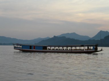 Transportation along the Mekong River in Luang Prabang, Laos