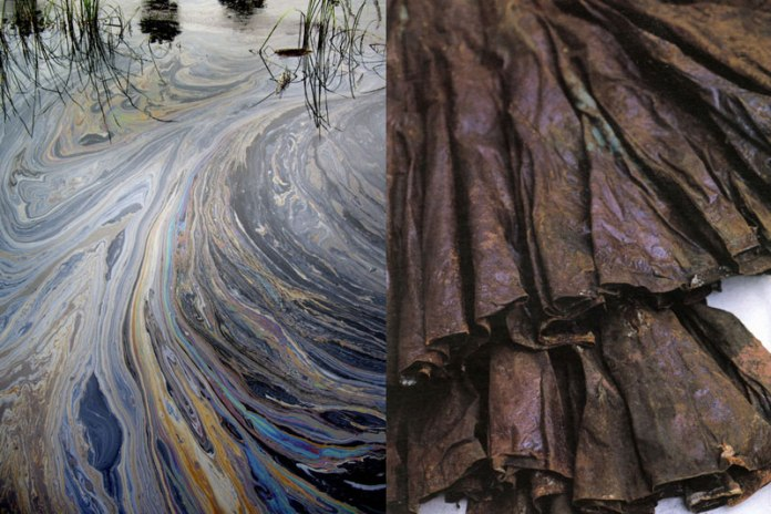 The inspiration is oil on water, the fabric a rich and nuanced multi-colored plain weave. Photos: (L) Helen Brandt; (R) Sabine Pigalle.