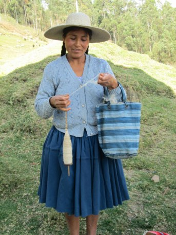 Doña Eulalia, hand spinning on her spindle.