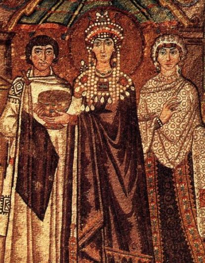 The Empress Theodora, the wife of the Emperor Justinian, dressed in Tyrian purple from the 6th century.