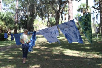 Indigo-dyed fabric using the Sea Island indigo from one of Donna's workshops.