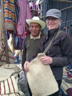 "Marilyn Murphy with the ""maguey man""at the Chichi market in Guatemala."