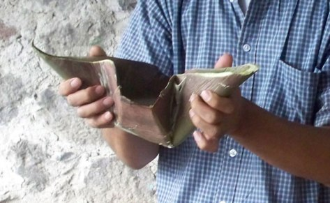 Pulque in a maguey leaf cup.