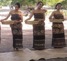 A cultural performance in Namata village on Sabu island. These floral sarongs are indeed ikat woven.