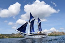 Where we lived for twelve days--the sailing vessel, the Ombak Putih, at full sail.