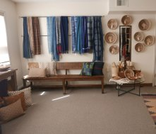 The Studio is constantly changing. On display a new collection of Zimbabwe baskets and Indigo scarves.