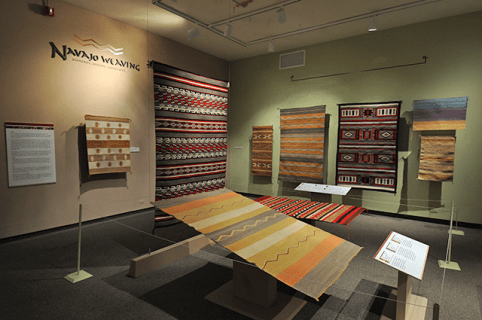 Navajo textile exhibition at the University of Colorado Boulder Museum of Natural History.