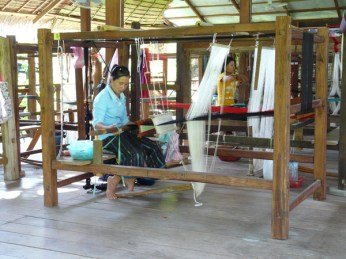 A traditional silk weaving loom at Ock Pop Tok.
