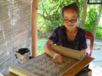 The Hmong-style, wax-resist batik at Ock Pop Tok.