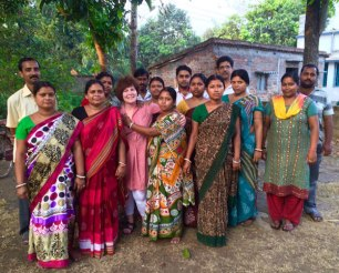 Red Sari founder Julie West with the Hooghly Craft group.