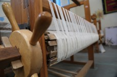 Large treadle loom warped and ready to weave. Photo courtesy Creative Women.