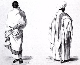 Shamma worn by men, one with red stripe to indicate status. North African Textiles.