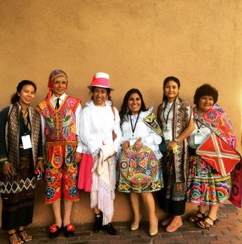Ock Pop Tok artisans pose with fellow artisans at Santa Fe Folk Art market. Photo credit Ock Pop Tok.