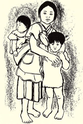 Maya refugee girl cares for her brother and sister, 1980s; from the card set.