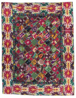 Patchwork and embroidered hanging (quroq ruja); Uzbekistan; c,1870-1800. Gift of Robert and Ardis James Foundation; International Quilt Study Center & Museum.