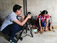 Eric Chavez Santiago documenting Oaxacan art. Photo courtesy Eric Chavez.
