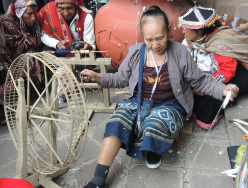 Mrs. Vankong from Laos spinning