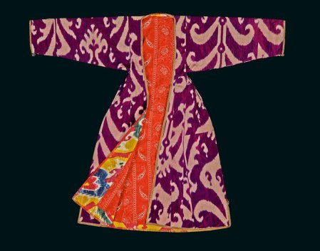 Front view of woman's ikat robe (munisak) Bukhara, Uzbekistan, 1880s-1920s Silk and cotton Length 132 cm / width 152 cm 2014,6013.1 © 2017 The Trustees of the British Museum/ Thames & Hudson, London; From the collection of the British Museum