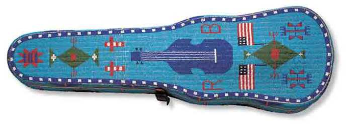 Violin case, 1891 Brulé Lakota Rosebud Reservation, South Dakota, USA Glass beads, commercial wood case, native-tanned hide, metal trim.