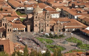 Historic Plaza de Armas in Cusco's city center.