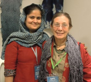 Indian bandhani artist Zakiya Adil Khatri (left) and Judy Frater at Tinkuy in Peru 2017.
