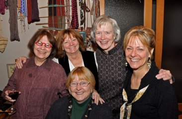 Celebrating our annual holiday gathering replete with textile gift giving (l to r: Linda Ligon, Linda Stark, Dee Lockwood (seated), Marilyn Murphy, Suzanne DeAtley).